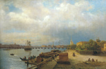 Lev Feliksovich Lagorio. View on Neva and Peter and Paul embankment with the cabin of Peter the great