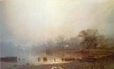Лев Львович Каменев. Туман. Красный пруд в Москве осенью