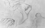 Жорж Сёра. Лист с этюдами солдат, фигур и кисти руки