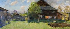 Alexander Victorovich Shevelyov. Behind the house in Sherehovichi. Hardboard,oil 35 x 80 cm 2014