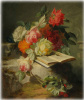 Still life with flowers and a book
