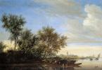 Ян ван Гойен. Речной пейзаж с паромом