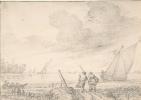 Ян Порселлис. Речной пейзаж с лодками и крестьянами на берегу