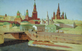 Arkhip Ivanovich Kuindzhi. Moscow. View of the Moskvoretsky bridge, the Kremlin and St. Basil's Cathedral