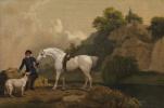 Джордж Стаббс. Конь Серый охотник с конюхом и борзой на фоне скал Кресвел-Крэгс