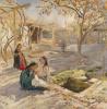 Girls playing in the yard. Samarkand