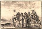 Ян Порселлис. Группа фигур и всадник на берегу