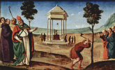 The Altar Pugliese. Madonna enthroned, the Apostle Peter, John the Baptist, St. Nicholas of Bari and St. Dominic. Predella