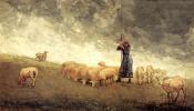 Уинслоу Хомер. Пастушка пасет овец