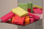 Shelf: a mountain of sponges