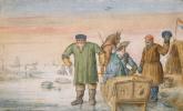 Хендрик Аверкамп. Пожилые мужчины рядом с дворянином в санях