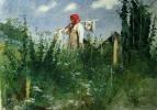 Иван Николаевич Крамской. Девочка с бельем на коромысле среди травы