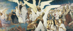 """Victor Mikhailovich Vasnetsov. Triptych """"the Joy of the righteous in the Lord. The threshold of Paradise"""". The sketch for the painting of the Vladimir Cathedral in Kiev. Fragment (the right part)"""