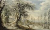 Гейсбрехт Лейтенс. Зимний пейзаж с лесорубом и путешественниками