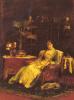 Элегантная дама с собакой в интерьере