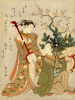 Two girls with a mask and a shamisen