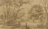 Ян Ливенс. Вид дороги в Гаагском лесу, с нищими у двери коттеджа