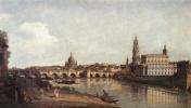 Бернардо Беллотто. Вид Дрездена с правого берега Эльбы ниже от моста Аугустусбрюкке