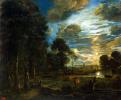 Ночной пейзаж с рекой