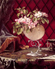Still life with a branch of a blossoming apple tree in the nautilus shell