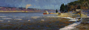 Alexander Victorovich Shevelyov. Ples, Volga spring. Oil on canvas 27.5 X 81 cm.