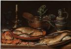 Клара Петерс. Натюрморт с рыбой, свечой, артишоками, крабами и креветками