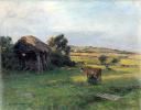 Пейзаж с крестьянкой, доящей корову