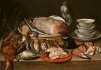 Клара Петерс. Натюрморт с перепелятником, птицей, фарфором и раковинами