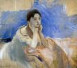 Молодая женщина, опирающаяся на локти