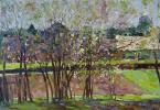 Flowering plum Sherehovichi. D. V. P., oil 27 x 40 cm 2014