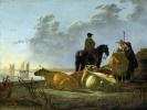 Крестьяне и крупный рогатый скот на берегу реки Мервед