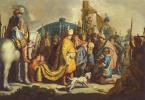 Рембрандт Ван Рейн. Давид с головой Голиафа перед Саулом