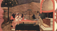 The legend of the communion. Two angel and two demon argue in front of the altar for the body of the repentant