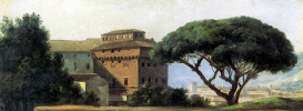 Pierre De Valenciennes. View of the monastery with umbrella stone pine