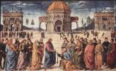 Пьетро Перуджино. Фрески Сикстинской капеллы, сцена: Христос передает ключи от рая апостолу Петру
