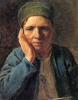 Peasant woman leaning on hand