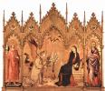 Триптих Благовещения, центральная часть. Дева Мария. Слева: св. Ансан Сиенский.
