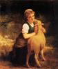 Молодая девушка с бараном