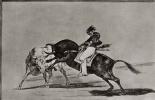 """Франсиско Гойя. Серия """"Тавромахия"""", лист 24: Тот же Себальос, скача на другом быке, наносит удар пикой на арене Мадрида"""