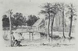 """Adolf Friedrich Erdmann von Menzel. A series of """"Experiments in etching"""" [09], Landscape with bridge, second state"""