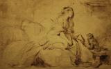 Жан Оноре Фрагонар. Набросок девушки с собакой