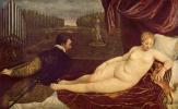 Тициан Вечеллио. Венера и кавалер, играющий на органе