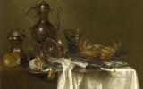 Питер Клас. Натюрморт с оловянной и серебряной посудой и крабом
