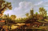 Ян ван Гойен. Переправа. Речной пейзаж с паромом