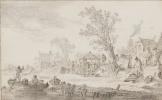 Ян ван Гойен. Пейзаж с кузницей на берегу реки