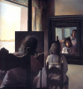 Dali, with his back turned, painting a portrait of Gala, his back turned and is perpetuated in six virtual roguishly temporarily reflected in six mirrors