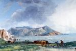 Жан-Пьер-Лоран Уэль. Вид острова Вулкано с острова Липари