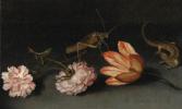 Балтазар ван дер Аст. Гвоздики, тюльпан, кузнечик и ящерица на каменном столе