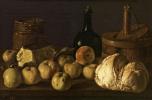 Луис Мелендес. Натюрморт с яблоками, хлебом, сыром