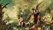 """Цикл картин """"История Товии"""" в церкви Архангела Рафаила в Венеции. Товия ловит рыбу с Рафаилом"""